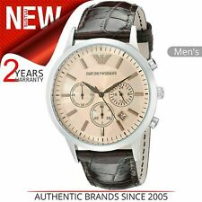 Emporio Armani Classic Men's Watch AR2433│Beige Chrono Dial│Brown Leather Strap