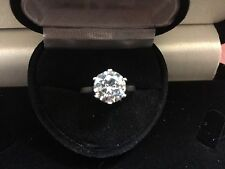 2CT PLATINUM & SS  LCS DIAMOND SOLITAIRE ENGAGEMENT RING SZ 5 + GIFT 6 PRONG