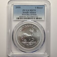 2018 South Africa 1 Rand PCGS MS70  First Day of Issue **Silver Krugerrand**