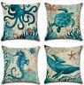 18'' Cotton Linen Marine Animal Pillow Case Sofa Throw Cushion Cover Home Decor