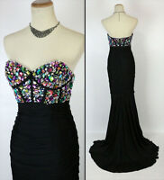 NEW $500 Jovani Size 2 Strapless Mermaid Long Gown Evening Prom Formal Black NWT