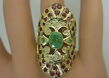 Vintage 18K Yellow Gold Emerald Blue Sapphire Ruby and Diamond Ring Large 4 CT