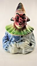 "Vintage MAJOLICA Clown TOBACCO JAR Humidor is 6 1/2"" Tall. Pretty 1930's piece!"