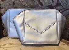 Lot of 2 La Prairie Silver Cosmetic Makeup Zipper Clutch Pouch Travel Bag