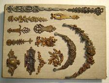 14 original antique furniture pediment salvaged pieces of bronze ornaments 19thC