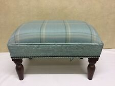Footstool upholstered in a Laura Ashley Corby check Duck egg