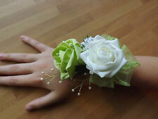 Wedding flowers bridesmaids wrist corsage lime green/ivory roses,diamante pearls