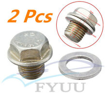 2 X Car Engine Oil Pan Drain Bolt Plug w/ Washer For Honda/Acura #90009-R70-A00
