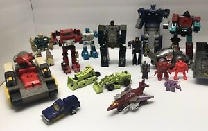 vintage transformers g1 lot and others. 12+ Figures Inferno sound wave etc
