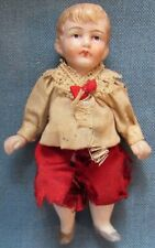 Vintage bisque boy doll in Victorian dress, with movable arms & legs (25)
