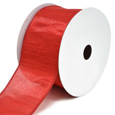 Woven Luster Wired Christmas Ribbon, Red, 2-1/2-Inch,10-Yard