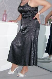 STUNNING ULTRA GLOSSY BLACK SATIN FULL LENGTH FLOUNCED SLIP DRESS.' 38