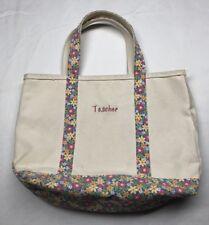 LL Bean Boat and Tote Canvas Bag Natural Pink Floral Trim Monogram Teacher