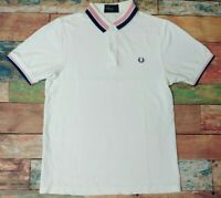 Mens Fred Perry Slim Fit Pique Polo Shirt Red White Blue Size Medium
