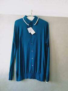 Mens John Smedley Blue Long Sleeve cotton Jumper with white piping Size L