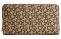 DKNY Bryant Leather Beige Phone Case New Zip Around Logo Large Wallet Gold Tan