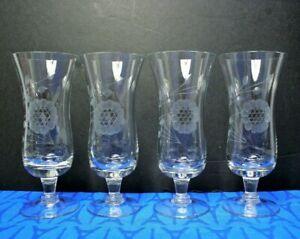 """Hughes CORNFLOWER Four 6"""" Parfait Glasses  MINT!"""