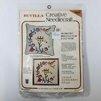 Vtg Bucilla Crewel Embroidery Kit The Birds Nest Creative Needlecraft 12x12in