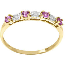 Natural Pink Sapphire & Diamond 9ct 9K 375 Solid Gold Ring - Bravo Jewellery