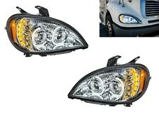 Pair Chrome Headlights W/ LED Turn Signal Lights for Freightliner Columbia