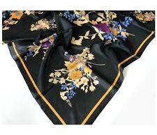 100% PURE SILK Large Square Scarf Women Head Hair Wrap Black Yellow Floral Shawl