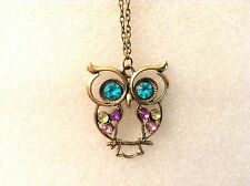 Bejeweled Studded Eyes & Wings Owl Steampunk Gold Color Pendant Chain Necklace