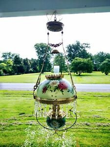 Victorian Antique Hanging Oil Lamp Hand Painted