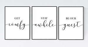 Get Comfy Stay Awhile Be Our Guest, Set of 3 Guest Room Prints, Bedroom Prints