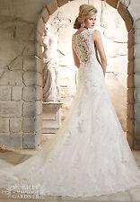 New Mermaid Lace White/Ivory Wedding Dresses Bridal Custom Size 6 8 10 12 14 16+