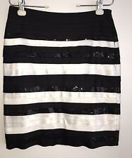 White House Black Market Skirt Size 4 Satin Sequin Tiered Straight Pencil