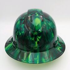 FULL BRIM Hard Hat custom hydro dipped GREEN ENVY SKULLS  NEW !!