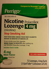 Perrigo Nicotine Polacrilex Lozenge Stop Smoking Aid 4mg Mint Flavor 72 Lozenges