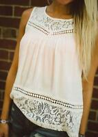 Women Summer Blouse Lace Splice White Casual Shirts Sleeveless Slim Tank Tops