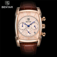 BENYAR 30m Water Resistant Date Leather Band Men Pilot Army Quartz Watch Bangle