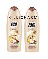 2x Right Guard Women Cream&Oil Shower Cream with COCO OIL Cacao Butter Scent