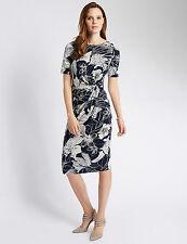 Knee Length Floral Crew Neck Tea Women's Dresses