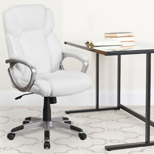Mid-Back White LeatherSoft Executive Swivel Office Chair with Padded Arms