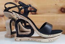 "Leather 4"" Wood Heart 1.5"" Platform Wedge Heel Shoe - Hand Crafted USA 5-12"
