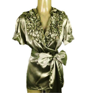 2X Kiwi Green LIQUID SATIN Wrap BLOUSE Frilly Ruffle Puff Sleeve Vtg Secretary