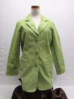 Terry Lewis women's S Small green leather lined jacket button front dress coat