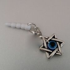 Jewish Star Blue Evil Eye cell phone Charm Anti Dust Plug For iPhone smartphone