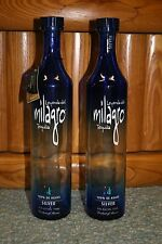 2 MILAGRO SILVER TEQUILA EMPTY BLUE BOTTLES, 750 ML, CORKS included