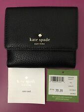 KATE SPADE Cobble Hill TAVY  Small Leather Wallet Black NEW