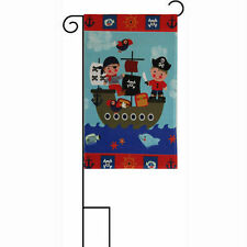 "12x18 12""x18"" Pirate Kids Children Nautical Sleeved w/ Garden Stand Flag"
