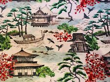30 YDS AVAIL SCHUMACHER MODERN ASIAN CHINOISERIE PAGODA CHERRY BLOSSOMS FABRIC