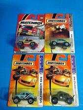 Matchbox - Lot of 4 - Volkswagen Beetle 4x4 Army, Yellow, Blue, Green MBX Metal+