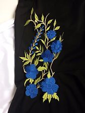 Large Leafy Royal Blue Floral Embroidery Applique Motif Sewing Trim EB0301