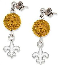 New Orleans Saints Bling Earrings Jewelry Crystal Jewelry