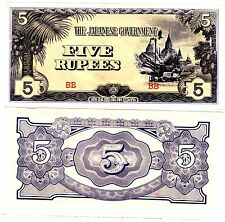 Japan JAPON Burma Billet 5 RUPEES 1942 INVASION P15 WWII OCCUPATION QUASI NEUF