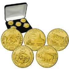 2006 24kt Gold Plated US Mint State Quarters Set in Gift Box w/COA  Gold Layered